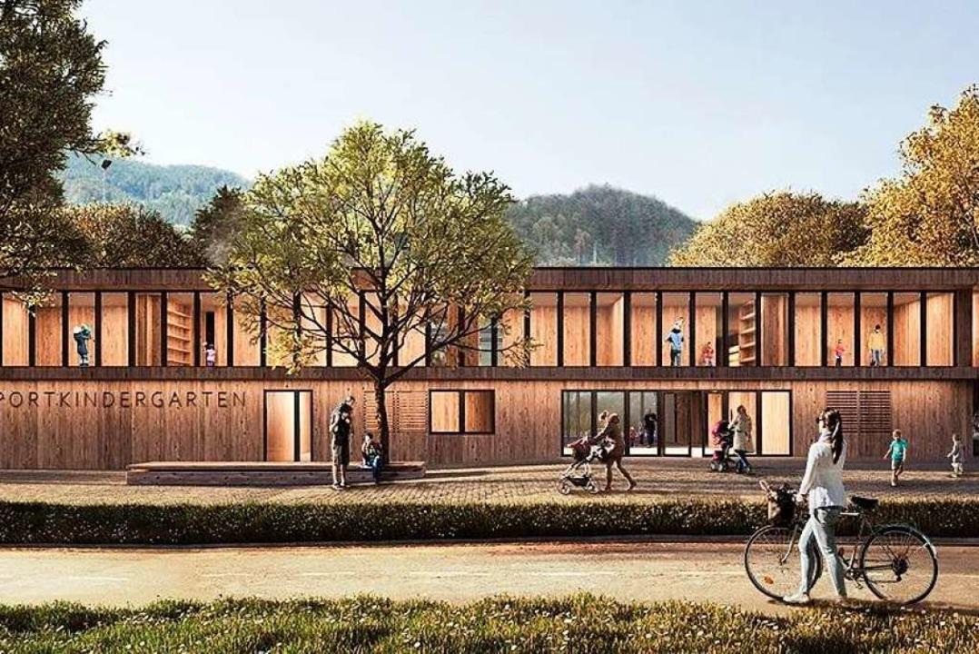 Nach den Entwurf des Wettbewerbssieger...dergarten in Kirchzarten so aussehen.   | Foto: Architektur 109, Stuttgart