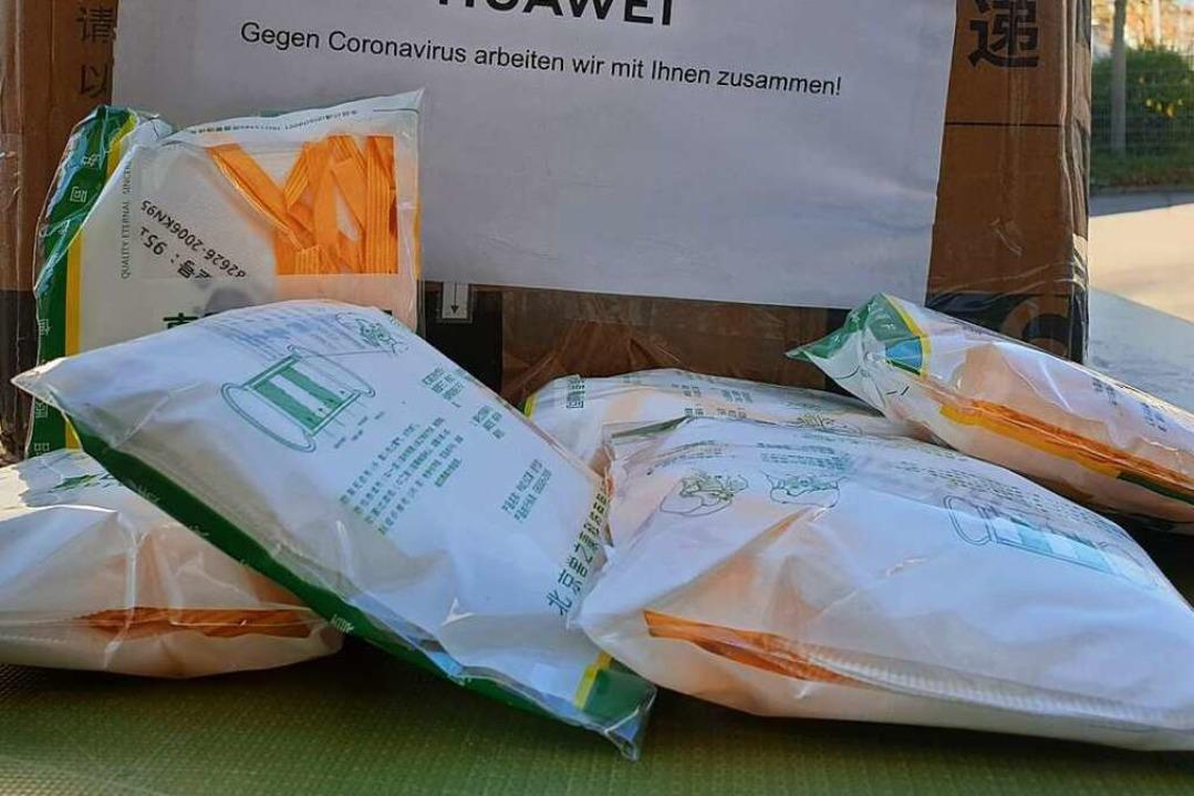 Die chinesische Firma  Huawei spendete... Schutzmasken an das Ortenau-Klinikum.    Foto: Stadt