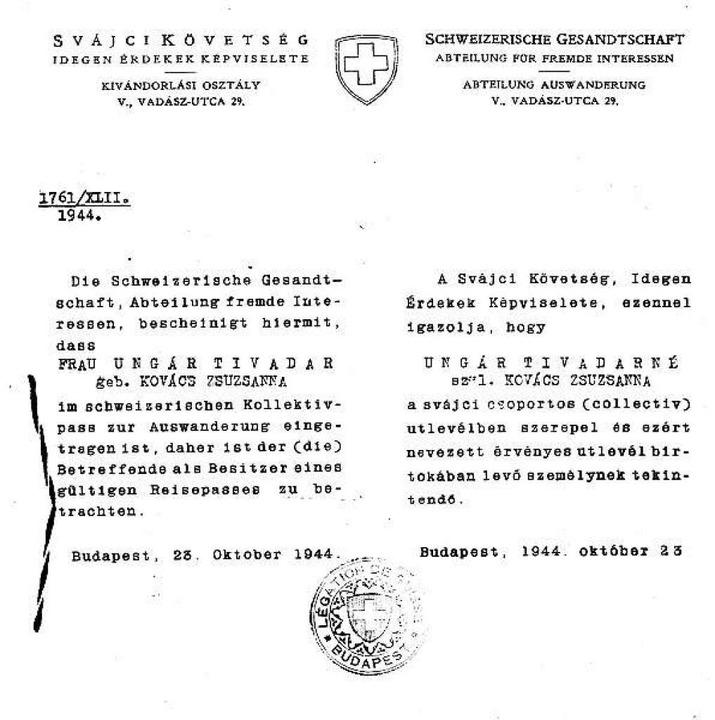 Ein Schutzbrief, ausgestellt von Carl Lutz  | Foto: Foto Lutz-Archiv Münchenbuchsee
