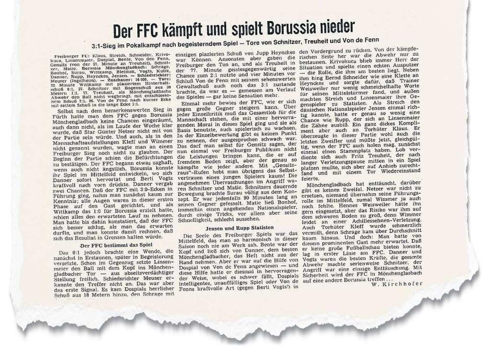 Der Spielbericht in der Badischen Zeit... 1972  von Redakteur Werner Kirchhofer    Foto: bz