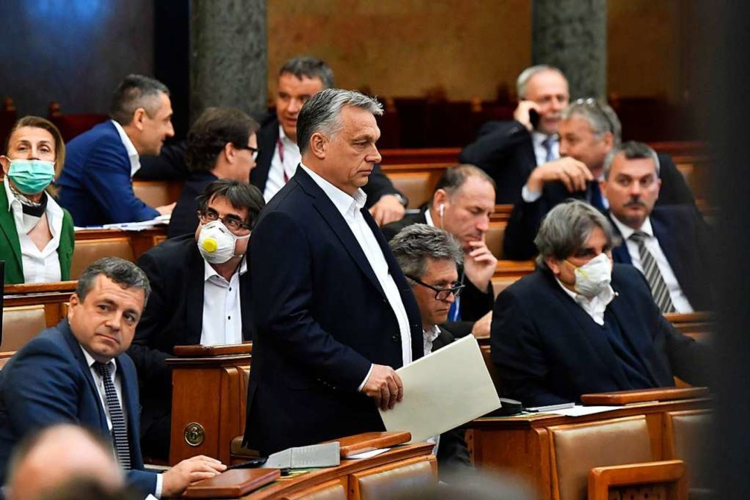 Viktor Orban im Parlament    Foto: Zoltan Mathe (dpa)