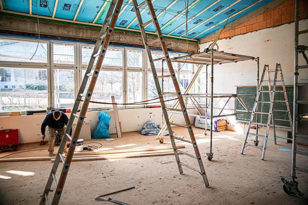 Im ersten Obergeschoss der Schule entsteht ein neues Klassenzimmer.  | Foto: Hubert Gemmert
