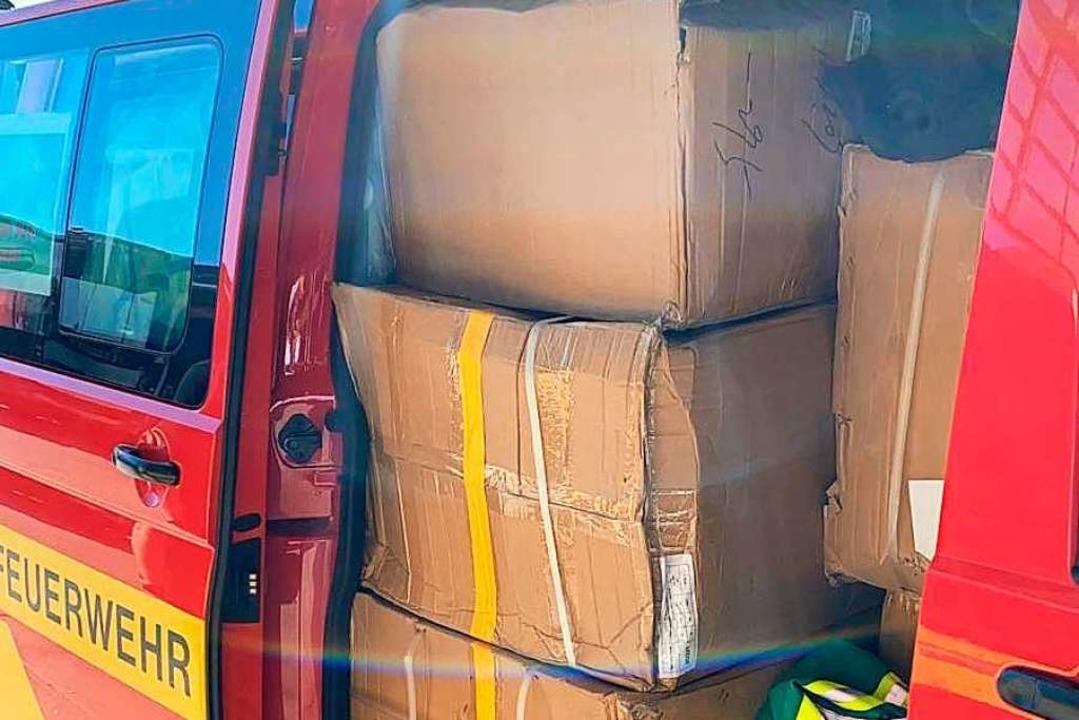 Wertvolle Fracht in einem Offenburger Feuerwehrfahrzeug  | Foto: Stadt Offenburg