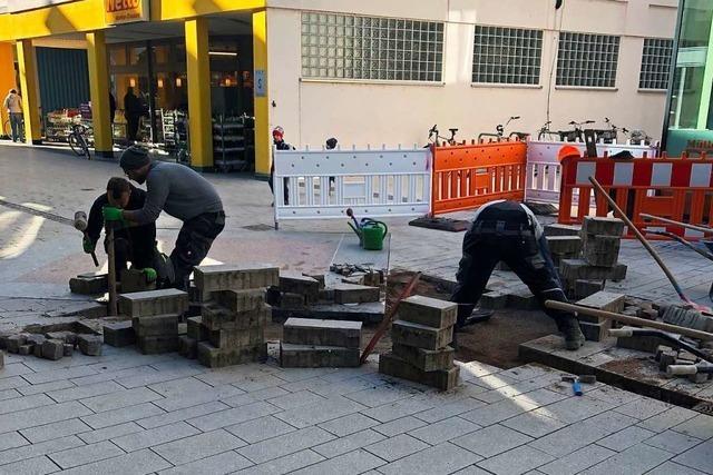 In Schopfheims Fußgängerzone musste nachgebessert werden