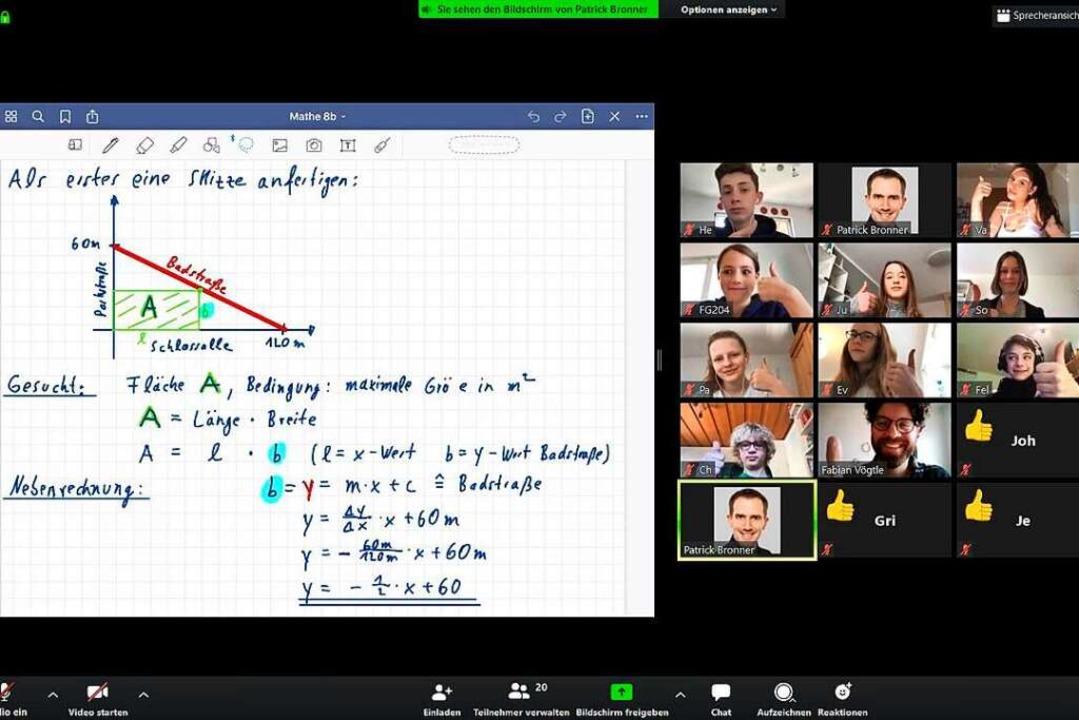 Statt an der Tafel findet der Unterric...zt per Video- und Lernplattform statt.  | Foto: Screenshot