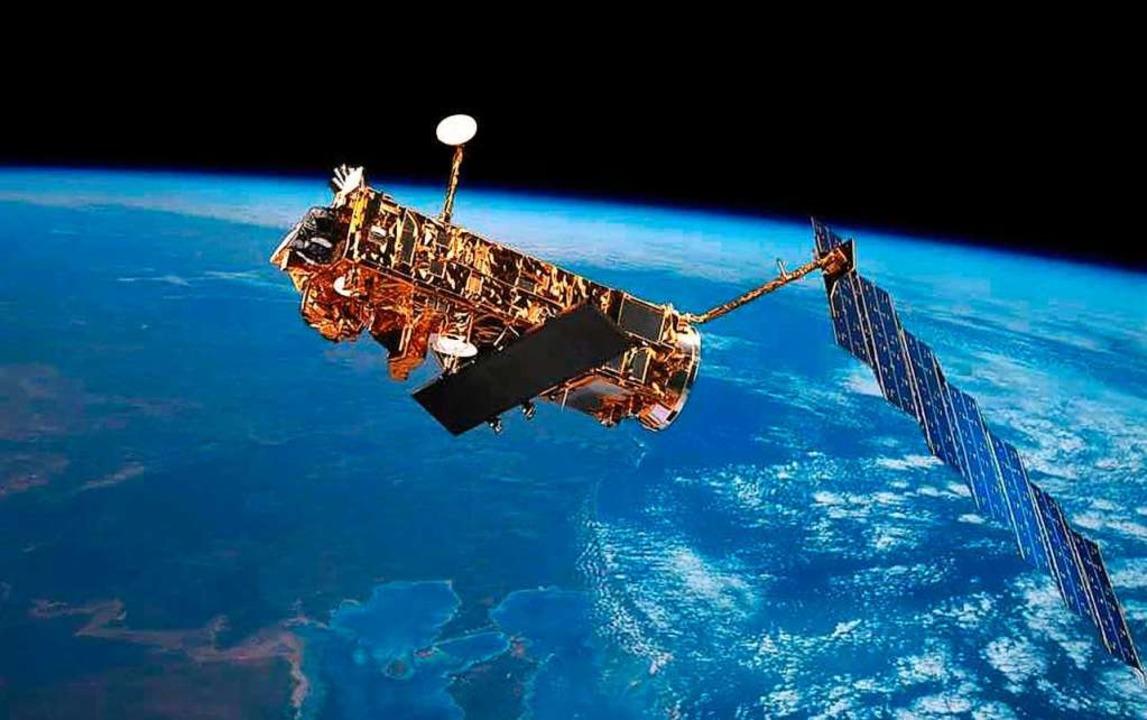 Crashgefahr: Satelliten wie der europä...ch fliegenden Weltraumschrott bedroht.  | Foto: -
