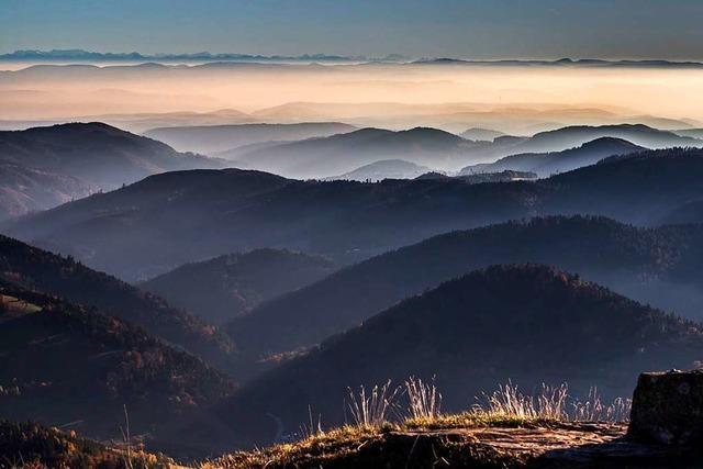 Schöner Blick vom Belchen auf den malerischen Mont Blanc