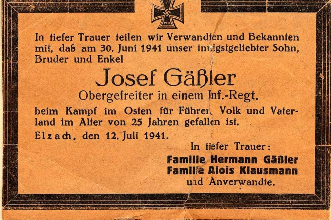 Der erste Elzacher Tote im Russlandkrieg: Josef Gässler.  | Foto: Waldkircher Volkszeitung / Der Elztäler