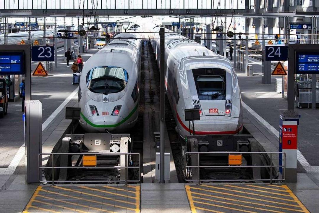 ICE-Züge im Hauptbahnhof München. In der Krise ist die Bahn pünktlicher.  | Foto: Sven Hoppe (dpa)