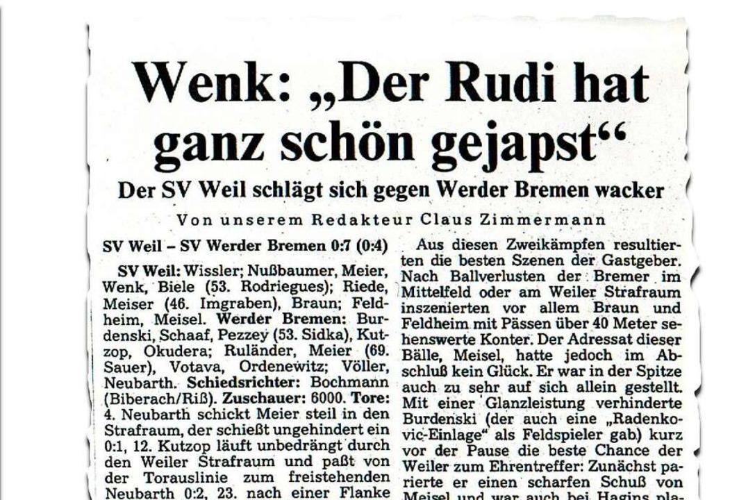 Damals die beste deutsche Mannschaft: die BZ vom 26.  August 1985    Foto: BZ