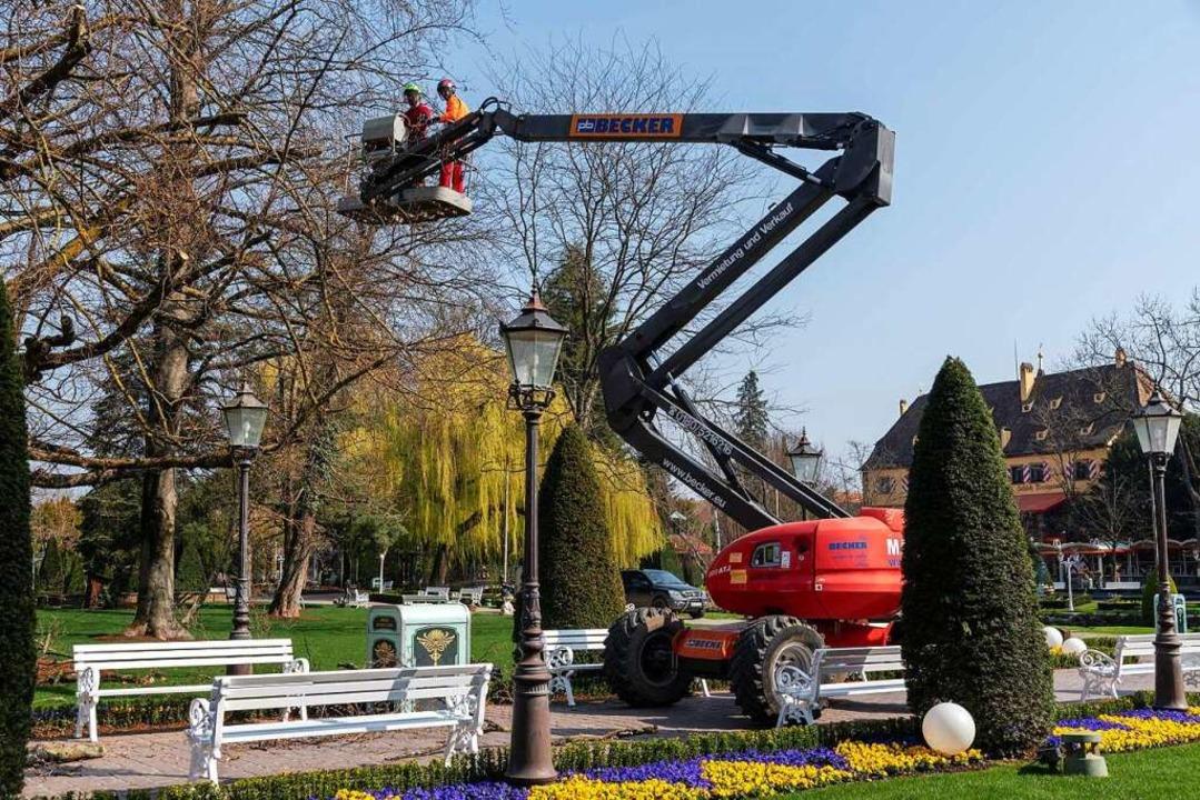 Auch gärtnerische Arbeiten wie die Baumpflege stehen derzeit an.  | Foto: Bernhard Rein