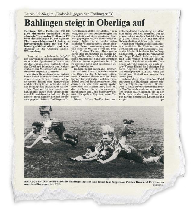 Am 28. Mai 1996 berichtete die Badisch...dahin größten Erfolg des Bahlinger SC.  | Foto: picsfive  (stock.adobe.com)