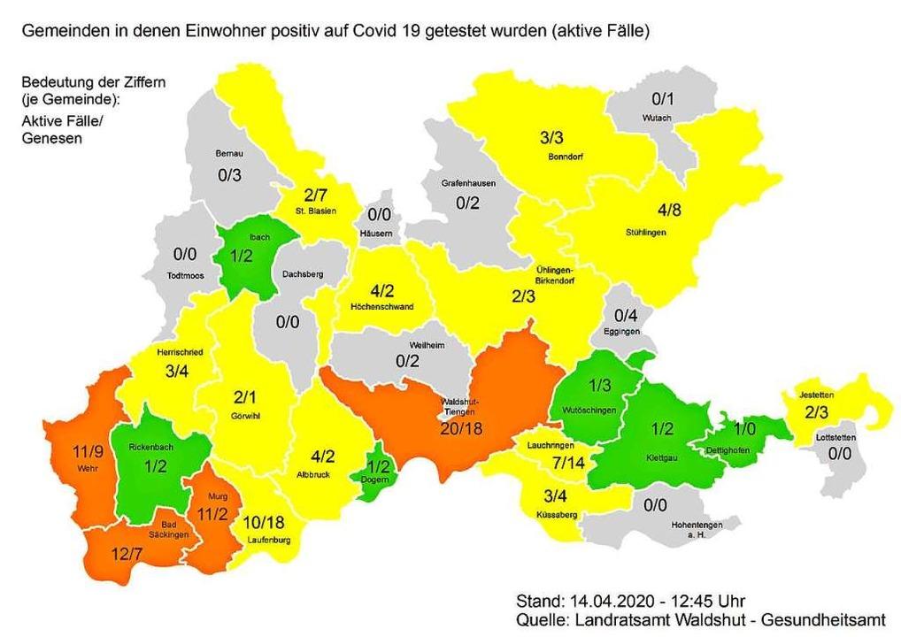 Diese Grafik zeigt die Zahl der aktive... die der Genesenen (Stand: 14. April).  | Foto: Landratsamt Waldshut