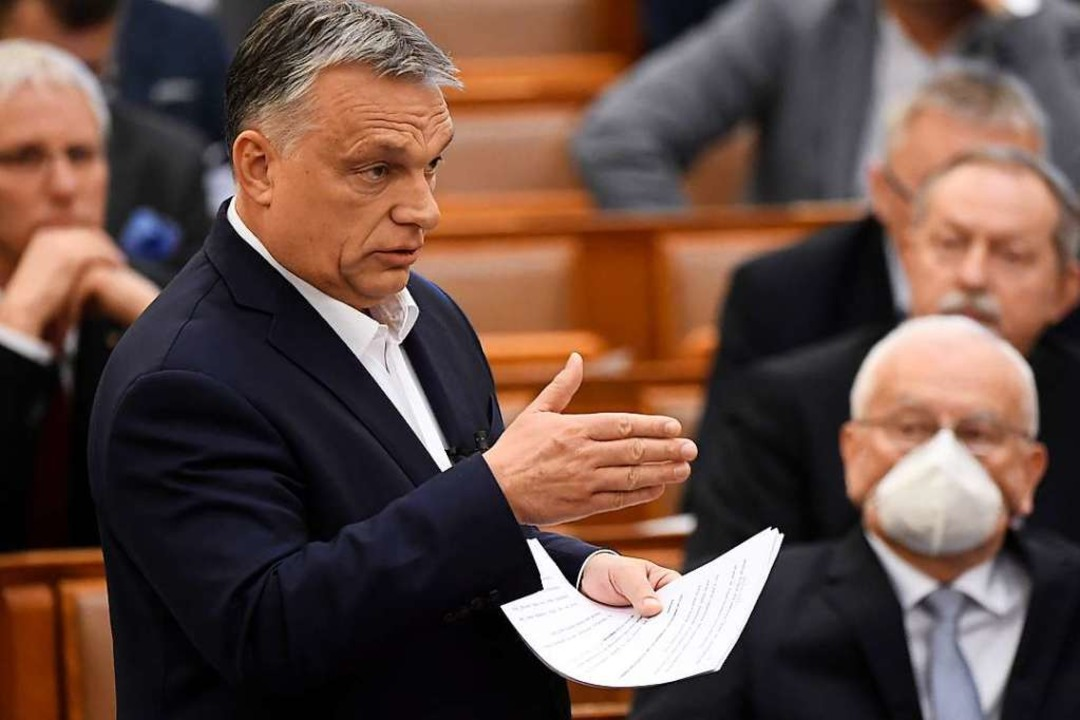 Viktor Orban, Ungarns Ministeroräsiden...r Rede im Parlament Anfang des Monats.    Foto: Tamas Kovacs (dpa)
