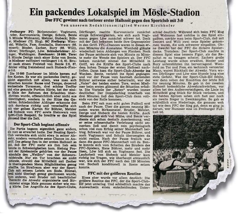 Am 9. Oktober 1978 berichtete die Badi...dem Freiburger FC und dem SC Freiburg.  | Foto: BZ-Archiv