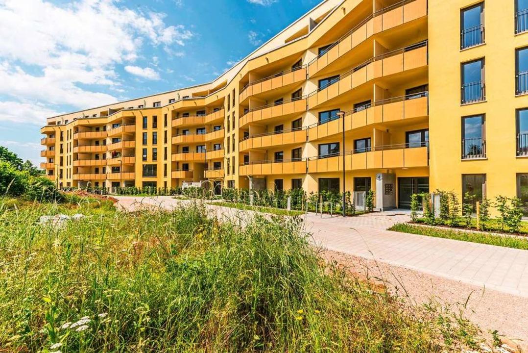 Das Projekt Schildacker in Haslach (Vi... der Basler Straße ist bereits fertig.  | Foto: Freiburger Stadtbau/Michael Spiegelhalter