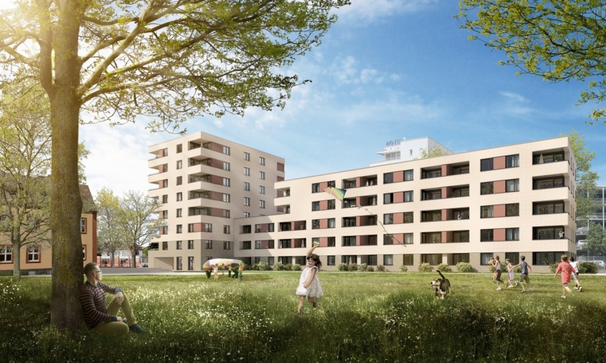Breisacher Hof im Stadtteil Mooswald (Visualisierung).  | Foto: Visualisierung Freiburger Stadtbau