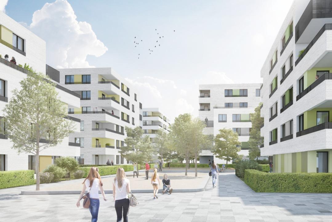 Belchenstraße 8 in Haslach: Die Freibu...sgesamt 83 Wohnungen (Visualisierung).  | Foto: MoRe Architekten