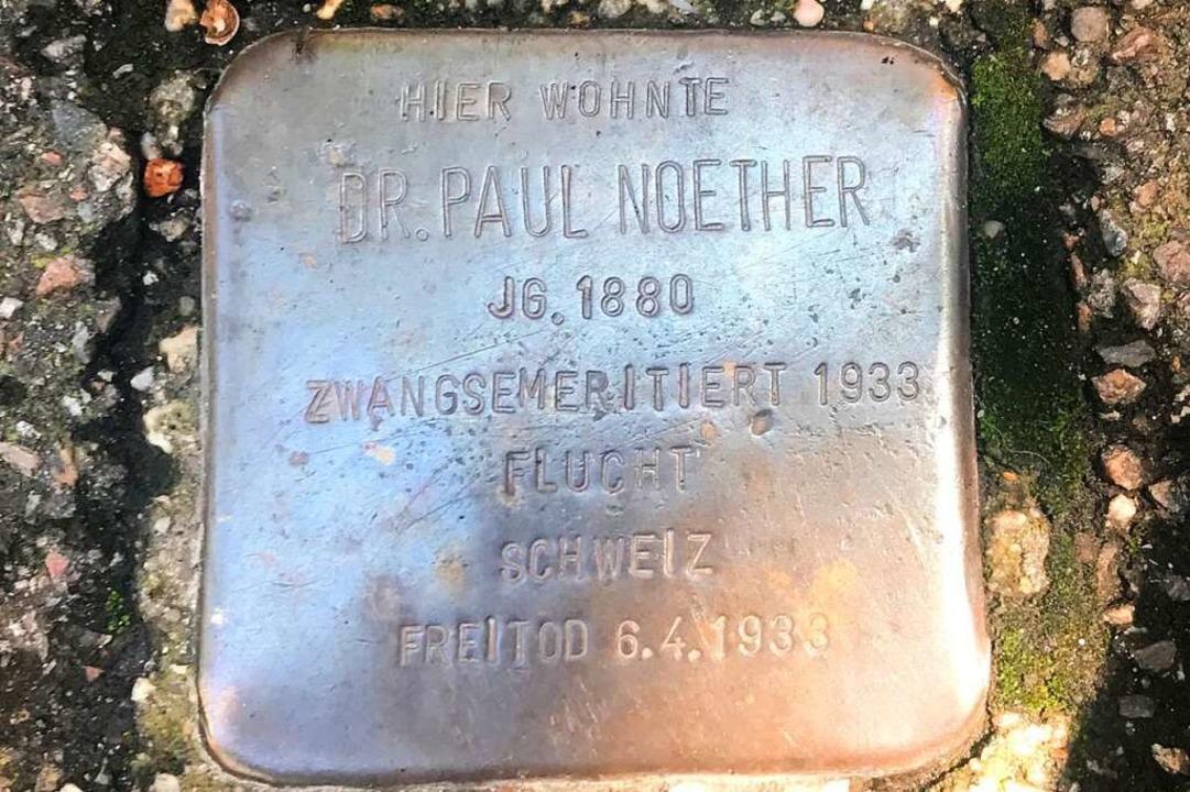 Der Stolperstein in der Bürgerwehrstraße für Paul Noether.  | Foto: Fritz Steger