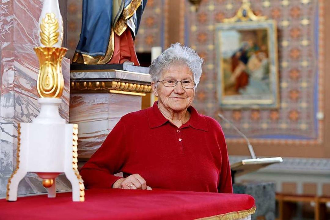 Maria Ehret in der Kirche in Kürzell.  | Foto: Christoph Breithaupt