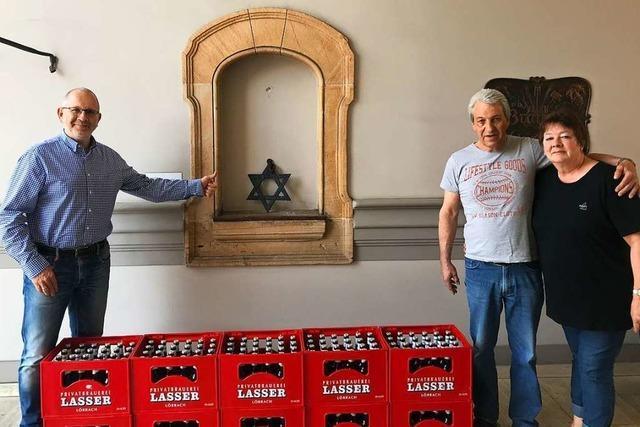 Der verschollene Stern der Lörracher Brauerei Lasser tauchte im Kakteenbeet wieder auf