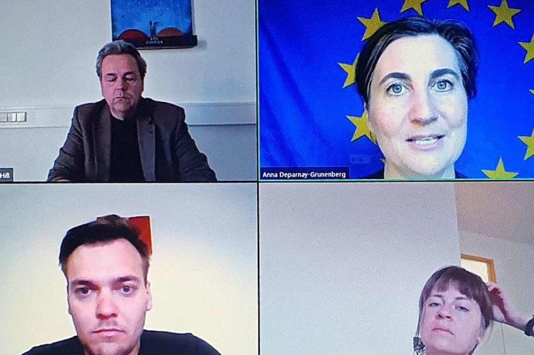 Diskutierten im virtuellen Raum: Chris...r Regionalwert AG (jeweils von links).  | Foto: Julius Wilhelm Steckmeister