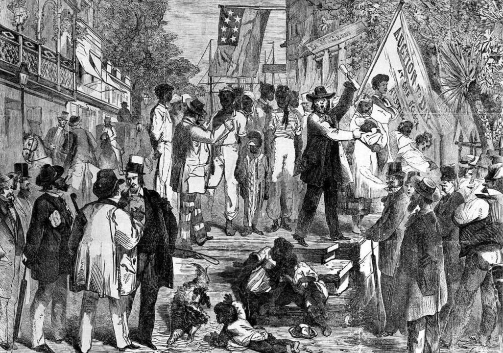 Diese Zeichnung zeigt einen Sklavenmar...SA bis ins 19. Jahrhundert üblich war.    Foto: dpa