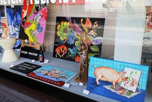 Kunst im Schaufenster anstatt im Schlössle in Friesenheim