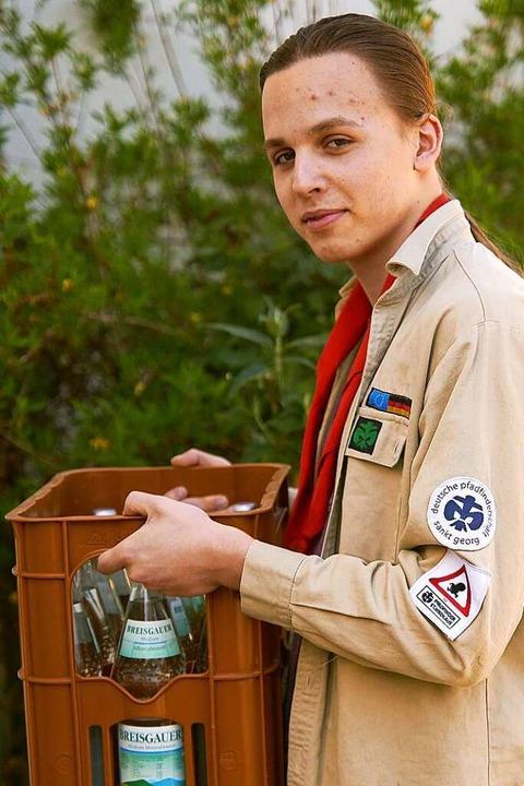 Niklas Koch bei einer seiner Liefertouren.    Foto: privat