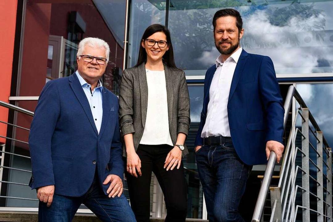 Das Geschäftsführer-Team (v. li.): Tho...er, Sarah Griesbaum und Florian Wölfle    Foto: Thomas Kunz