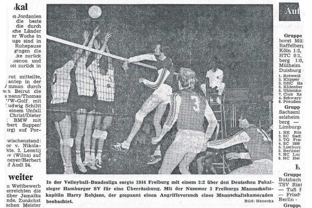 Das Foto zum Spielbericht in der Badischen Zeitung am 14. Oktober 1974  | Foto: bz