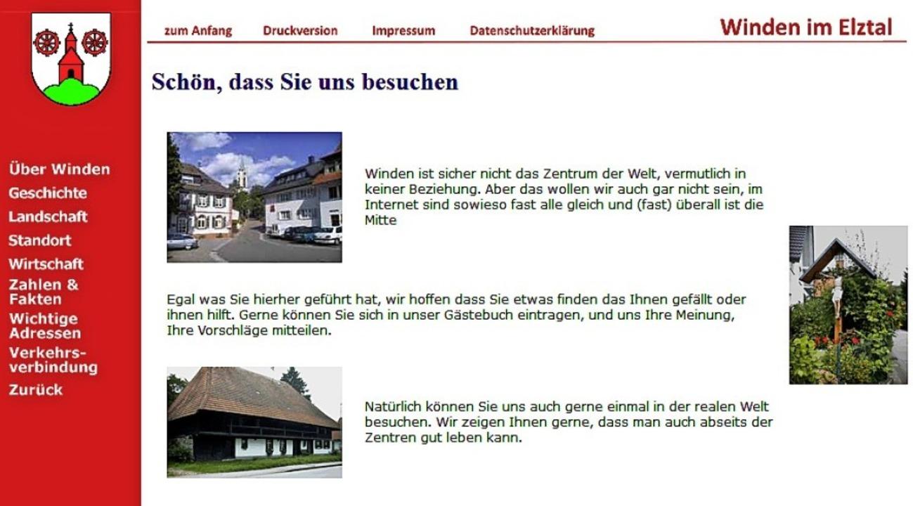 Winden im Retro-Look: Die Webseite wur...000er-Jahre von Freiwilligen erstellt.  | Foto: Yannick Allgeier