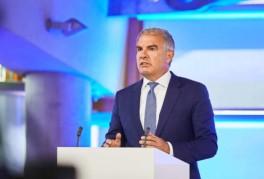 Vorstandschef Carsten Spohr spricht wä...ufthansa, die im Internet stattfindet.    Foto: Oliver Roesler, Lufthansa (dpa)