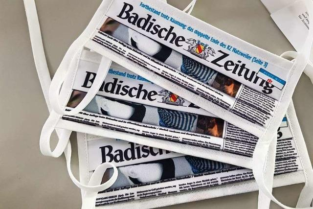 Mund-Nasen-Masken im Design der Badischen Zeitung