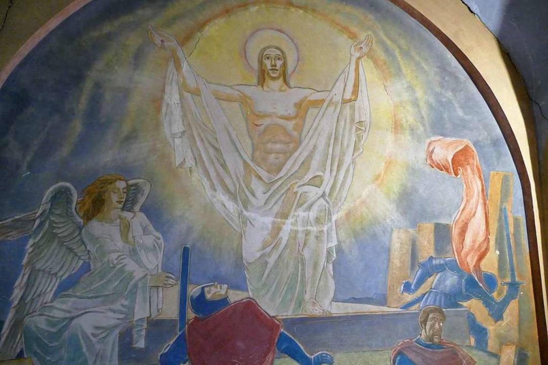 Altes Altarbild aus dem 1930er Jahren ... die Renovierung in den 1970er Jahren.    Foto: Sylvia Sredniawa