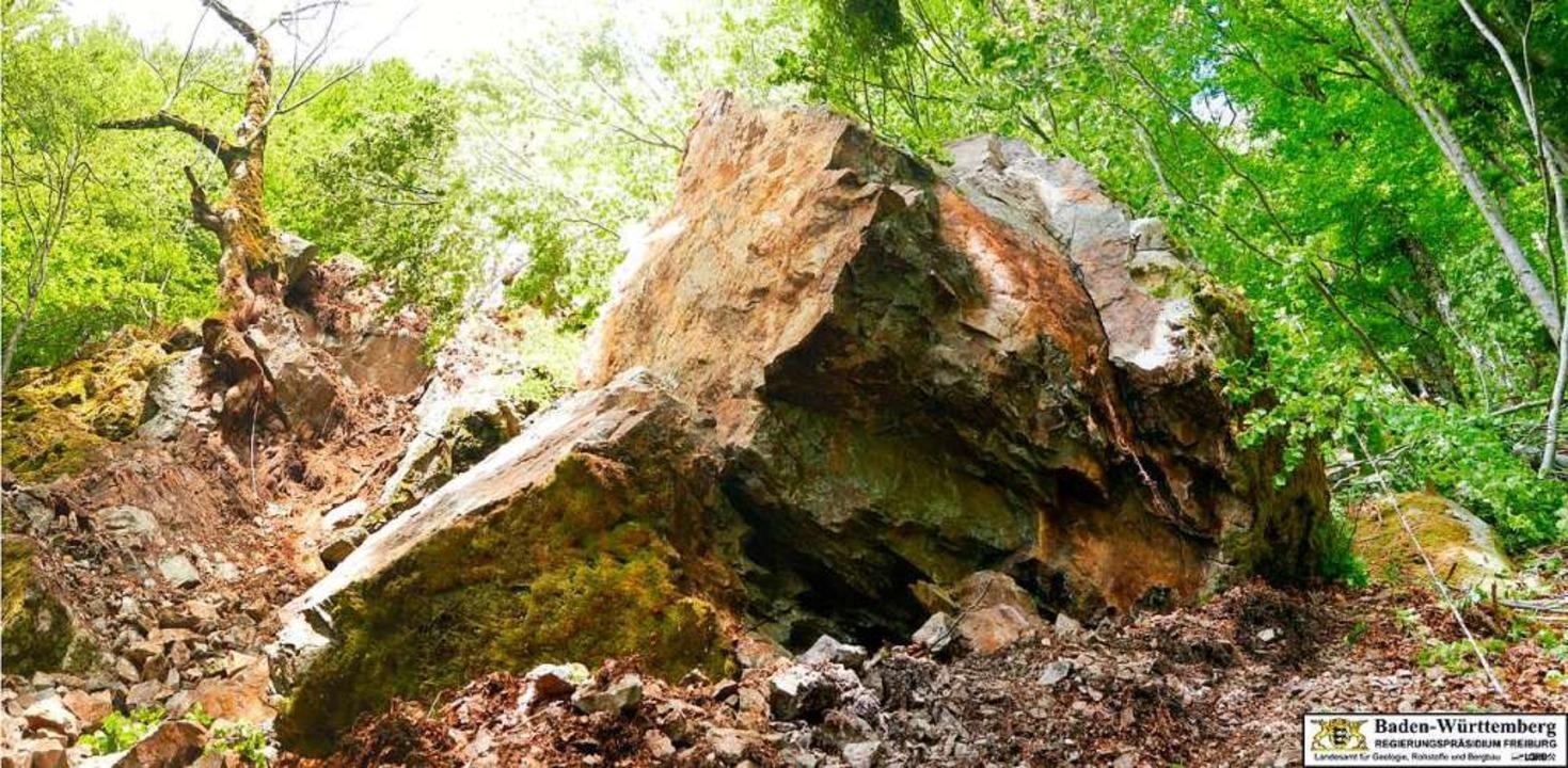 Links die Ausbruchnische des Felssturz...einem Volumen von rund  30 Kubikmetern  | Foto: Landesamt für Geologie, Bergbau und Rohstoffe