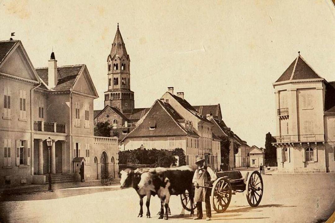 Das Nordende der Kaiserstraße (oberes ...dem Merianschen Haus (rechts) um 1860.  | Foto: Gottlieb Hase/Augustinermuseum