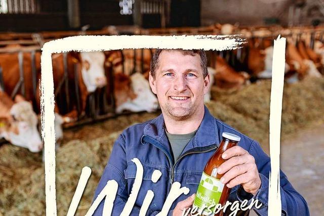 Thomas Frenk aus Nonnenweier wirbt auf Plakaten für die Landwirtschaft