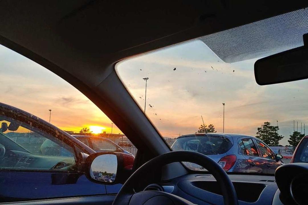 Im Kino sitzen und die untergehende Sonne bestaunen, das geht nur im Autokino.  | Foto: Maya-Katharina Schulz