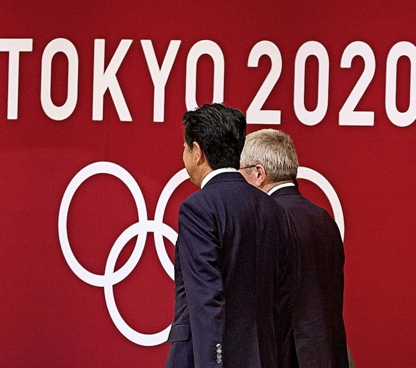 Falsches Emblem: Nicht 2020, sondern 2...inden die Sommerspiele in Tokio statt.    Foto: Rodrigo Reyes Marin (dpa)