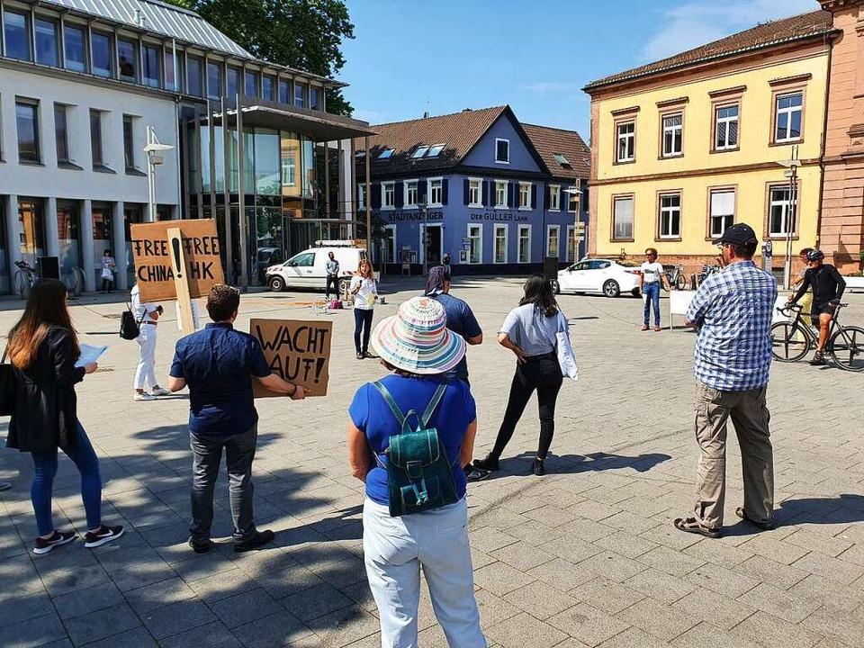 Die Lahrer Osteopathin Anette Franz (h...Mitte) organisierte die Demonstration.    Foto: Karl Kovacs