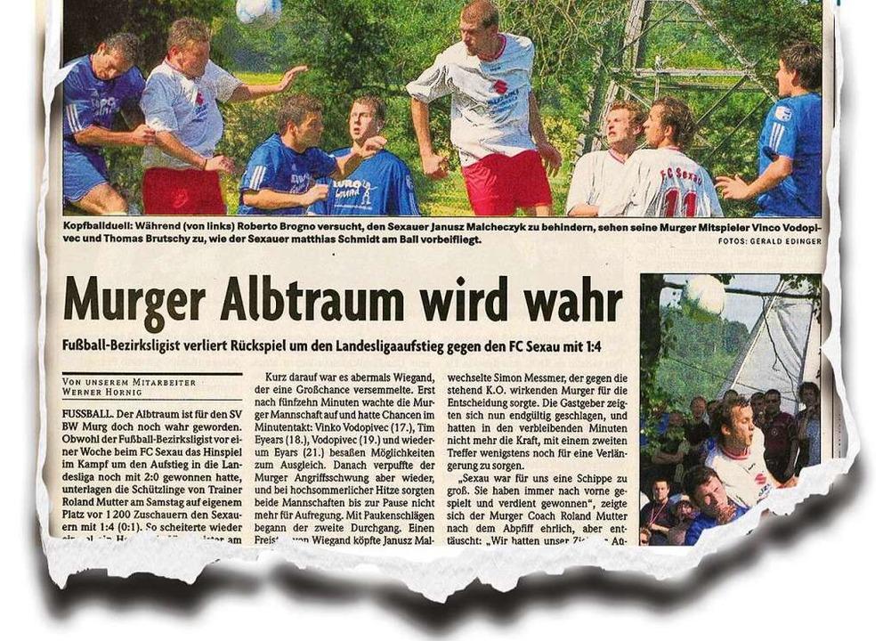 """Für Murg war Sexau """"eine Schippe zu groß"""": die BZ vom 20. Juni 2005    Foto: BZ"""
