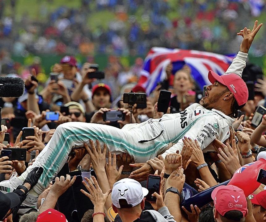 Solche Bilder wie nach dem Sieg Hamilt...e 2019 wird es lange nicht mehr geben.    Foto: ANDREJ ISAKOVIC (AFP)