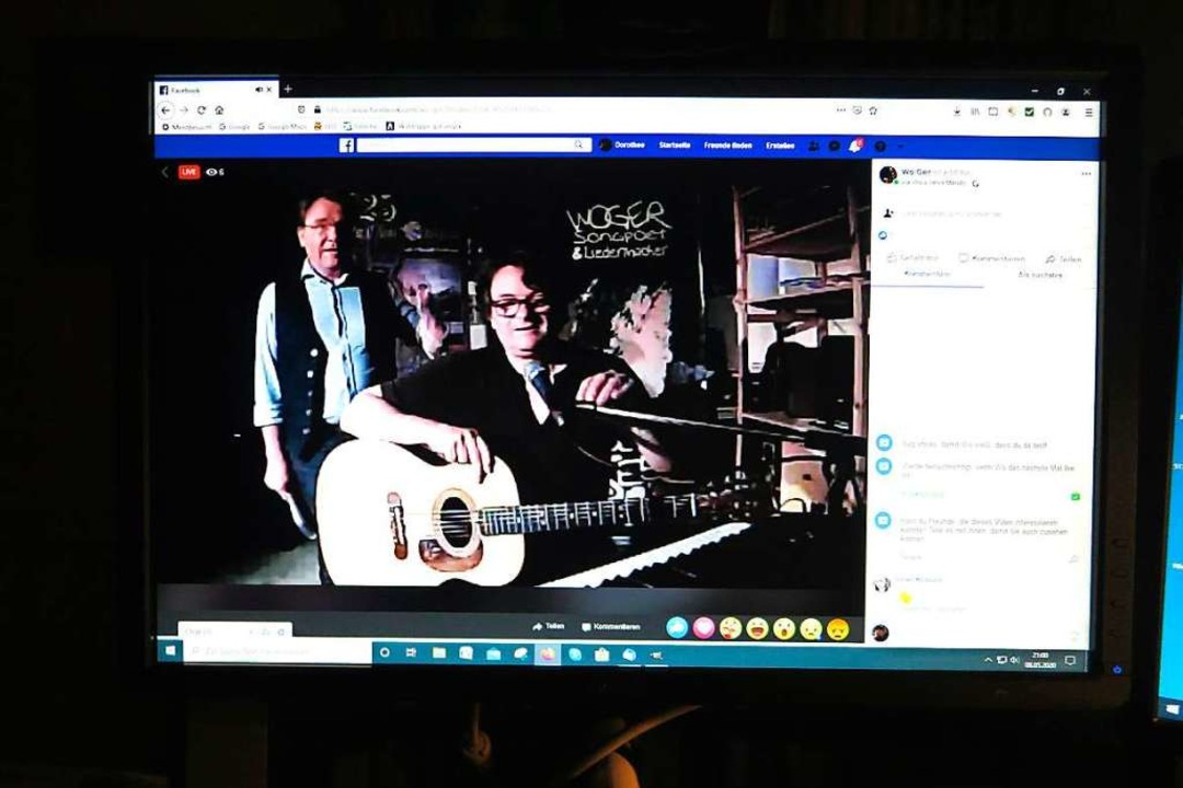Das Konzert von WoGer an der Gitarre m...er wurde via Facebook live übertragen.  | Foto: Dorothee Philipp