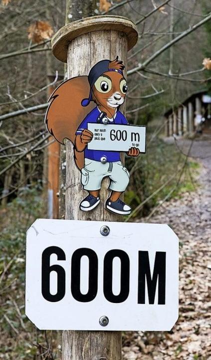Das Maskottchen Baumwipfelwilli inform...s zum Eingang des Baumkronenweges ist.  | Foto: Gabriele Zahn