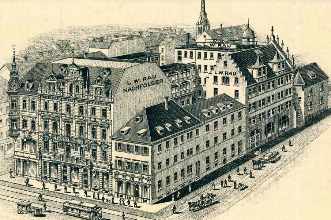 Die um 1910 entstandene Lithografie ze...ls noch höhere Turm der Martinskirche.    Foto: Archiv Manfred Gallo