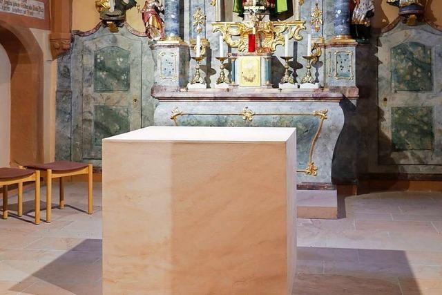 Leutkirche in Oberschopfheim bekommt einen Sandsteinaltar
