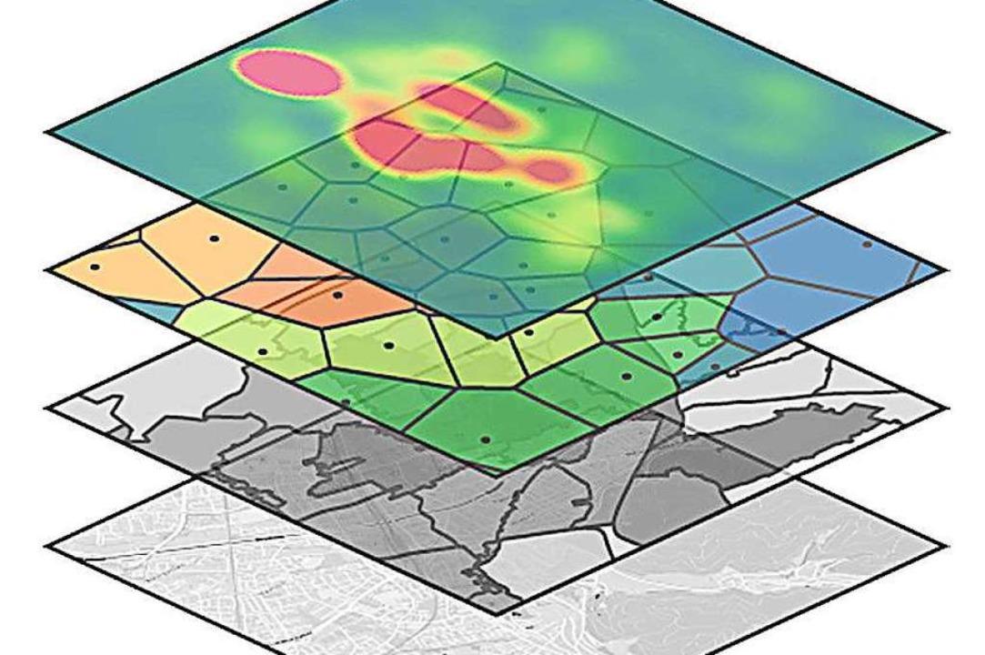 Geospin legt Informationsebenen über e...icklungen in einer Stadt zu errechnen.  | Foto: Geospin