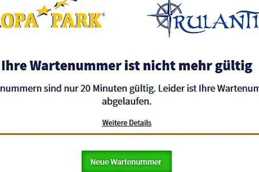 Wer am Ziel zu lange wartet, hat Pech ...ropa-Parks sind nur 20 Minuten gültig.  | Foto: Screenshot