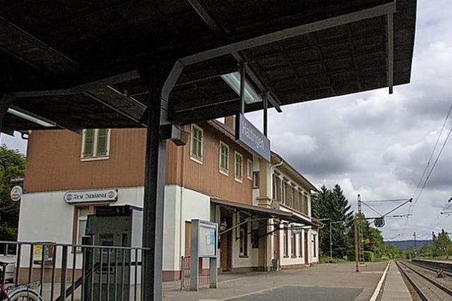 Erinnerung an den Bahnhof auf der Schutzwand